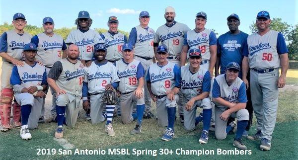 2019 Bombers Capture 30 Spring Championship In San Antonio Men S Senior Baseball League Men S Senior Baseball League