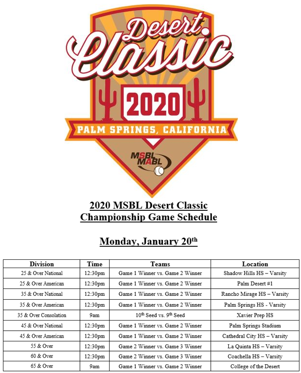 desert classic 2020 logo and championship game schedule